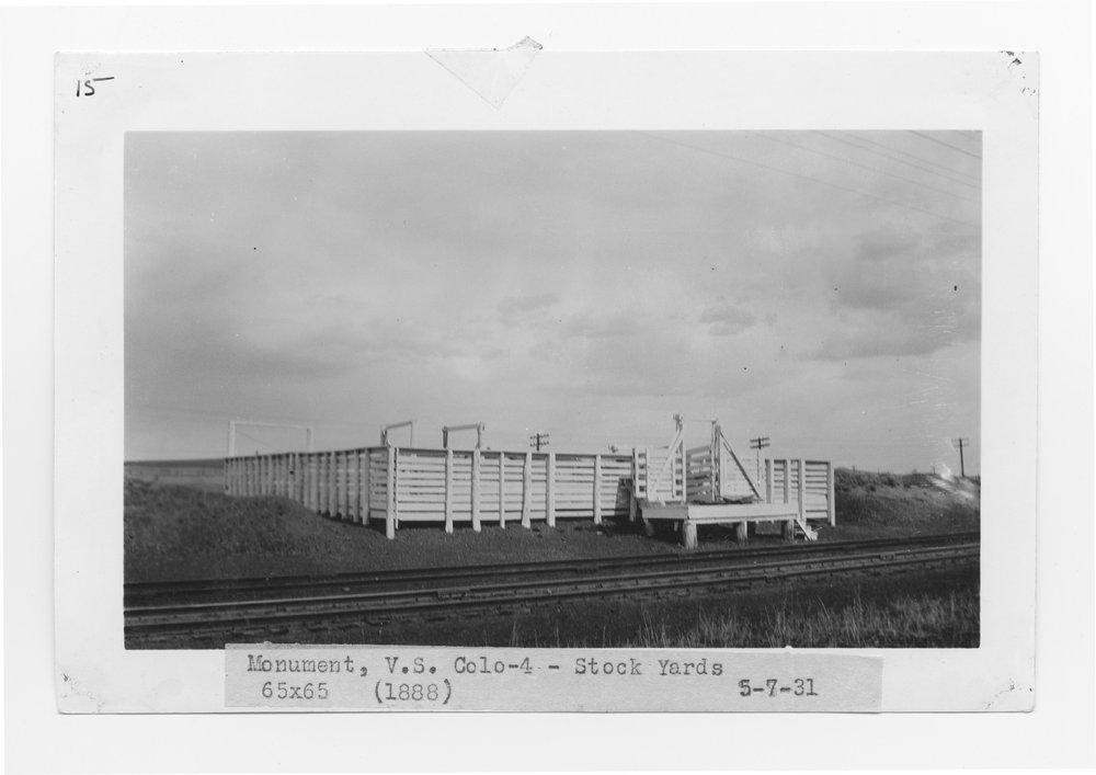 Atchison, Topeka & Santa Fe Railway Company stock yards, Monument, Colorado