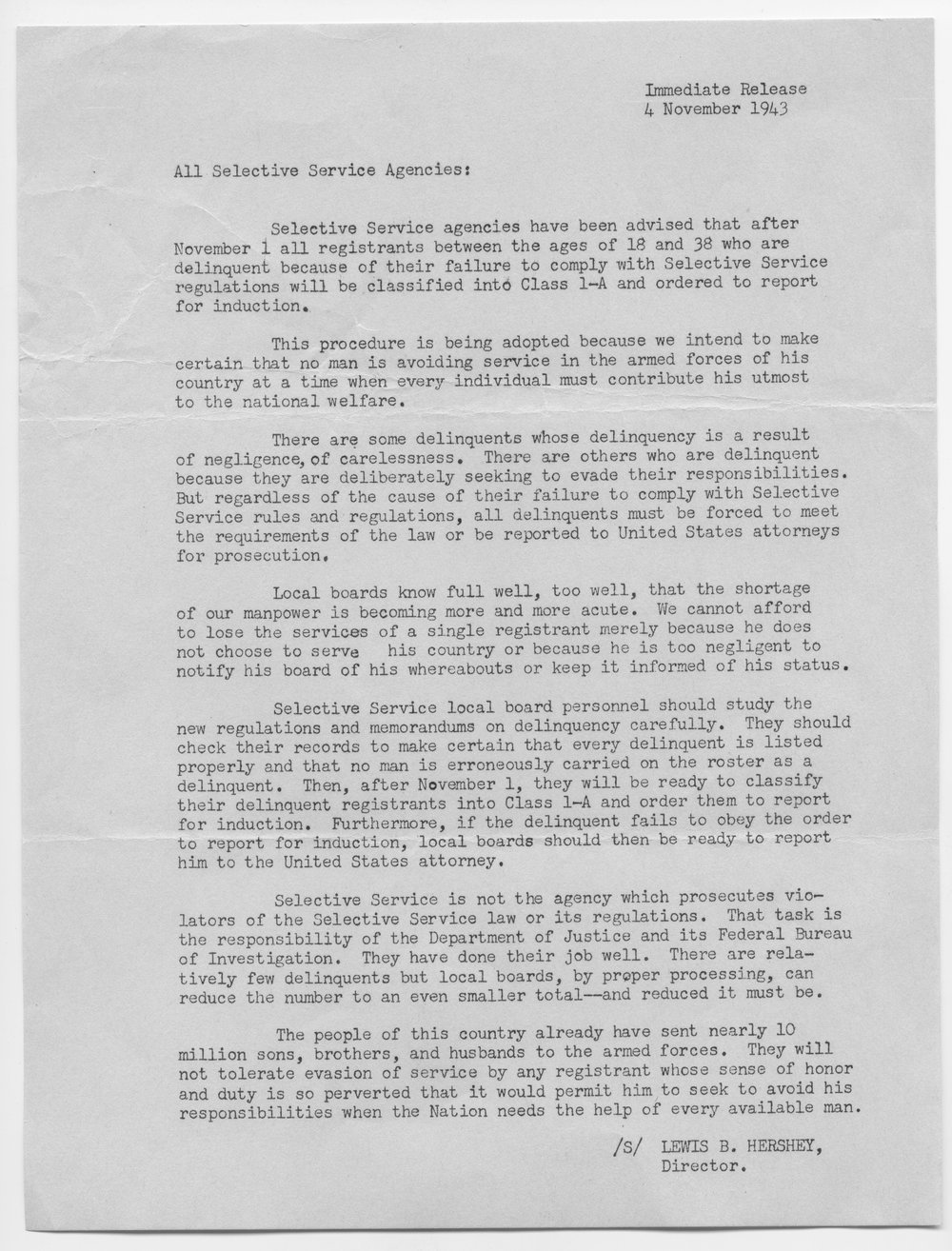 Lewis B. Hershey to all Selective Service agencies