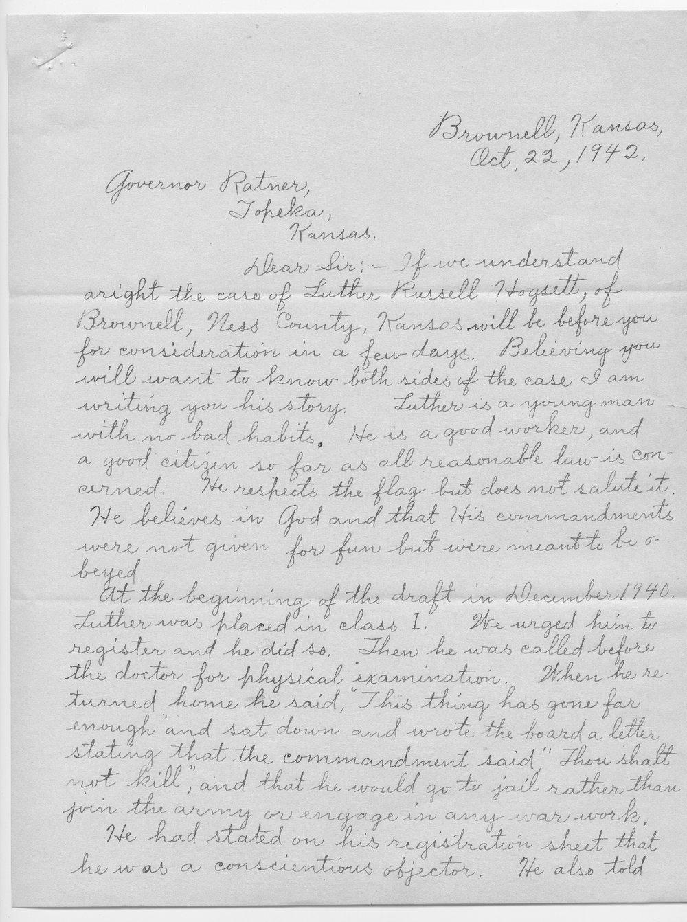 Anna M. Hogsett to Governor Payne Ratner - 1