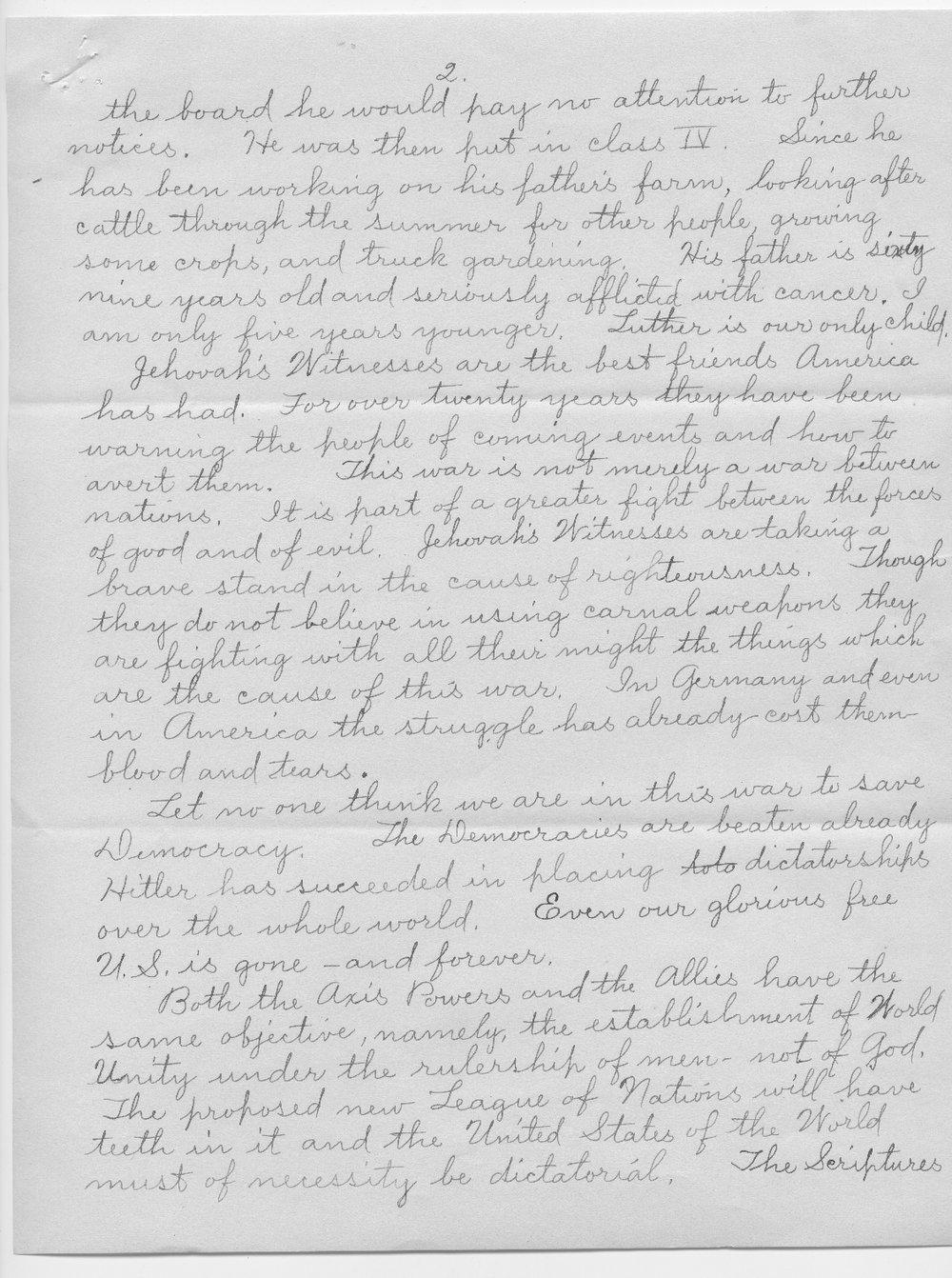 Anna M. Hogsett to Governor Payne Ratner - 2