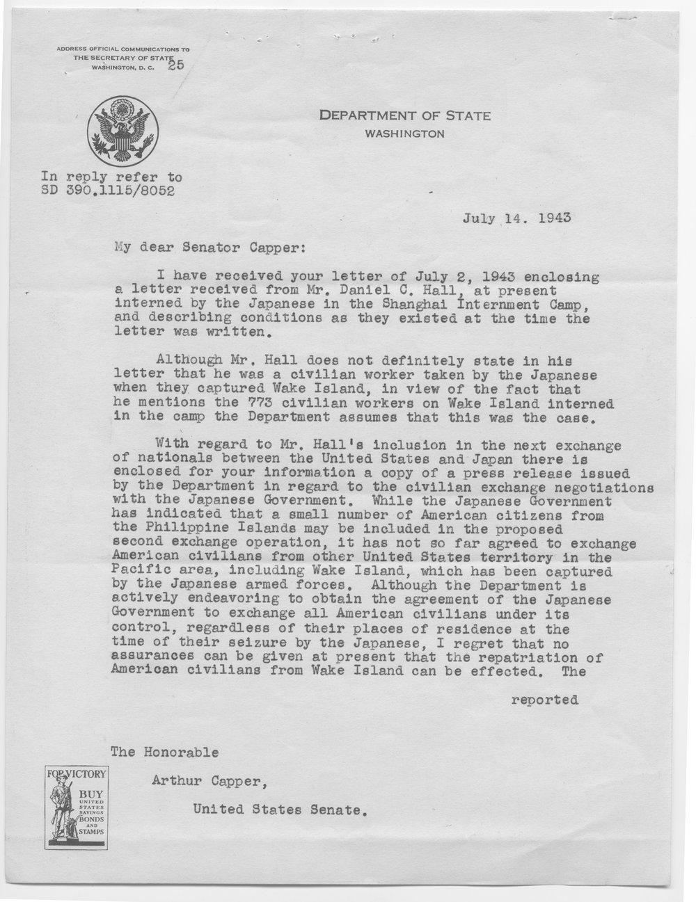 Cordell Hull to Senator Arthur Capper - 1