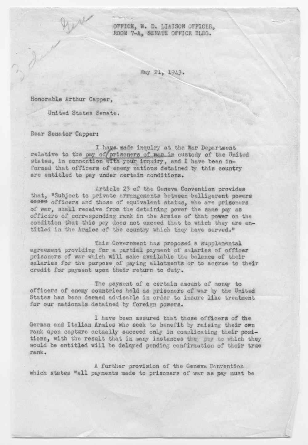 Colonel H.H. Pfeil to Senator Arthur Capper - 1