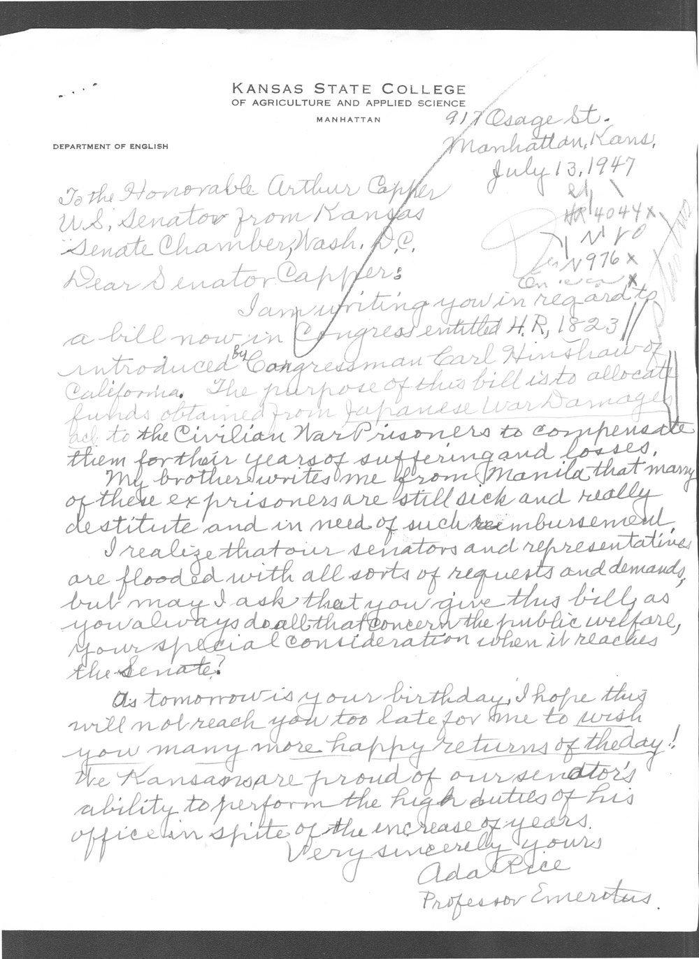 Dr. Ada Rice to Senator Arthur Capper