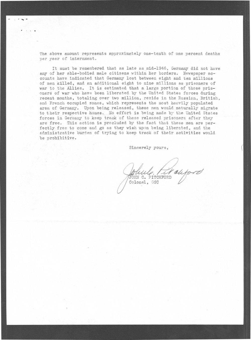 Colonel John C. Pitchford to Senator Arthur Capper - 3