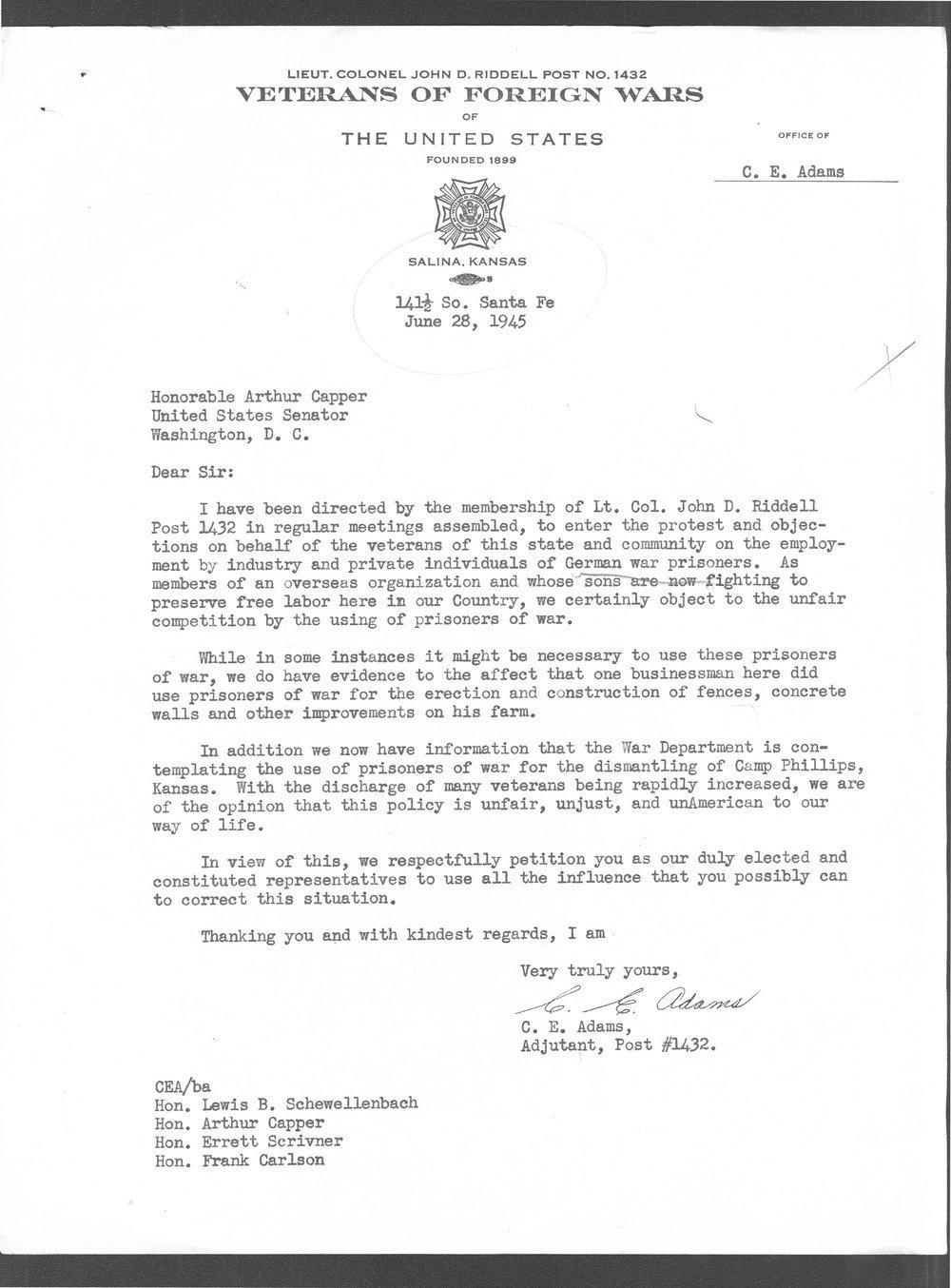 C. E. Adams, VFW Post 1432 to Senator Arthur Capper