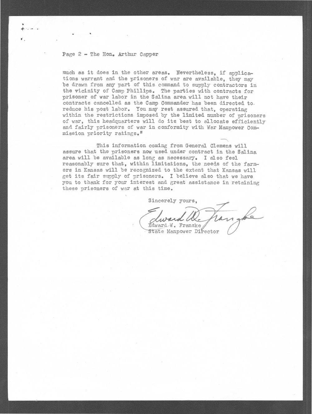 Edward Franzke to Senator Arthur Capper - 2