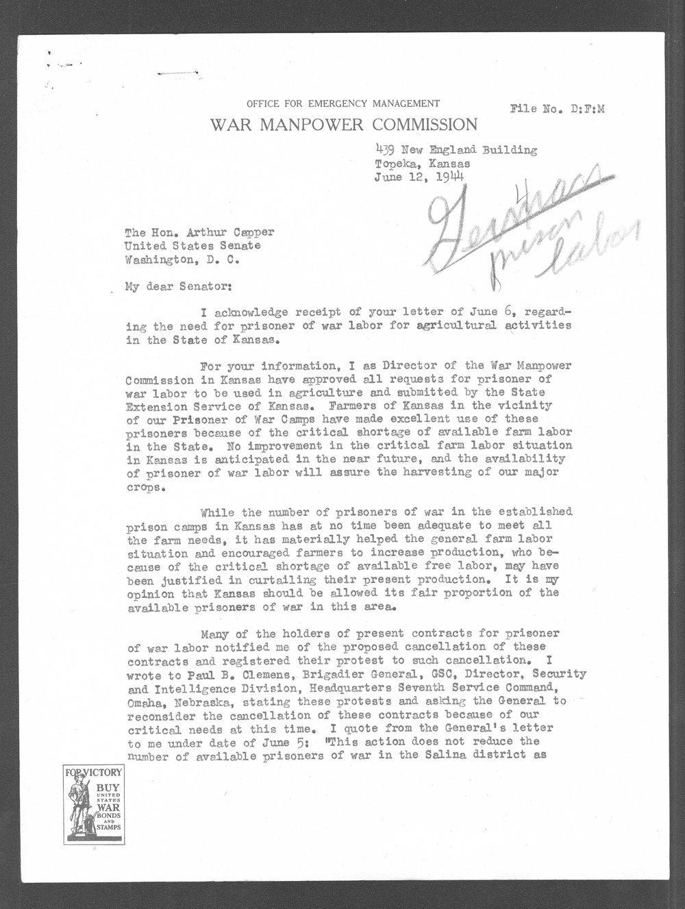 Edward Franzke to Senator Arthur Capper - 1