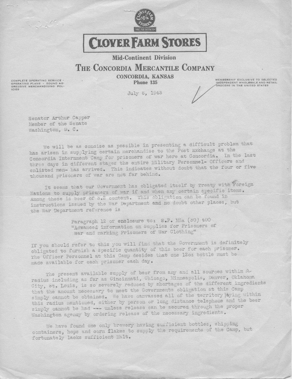 Donald Bolman to Senator Arthur Capper - 1