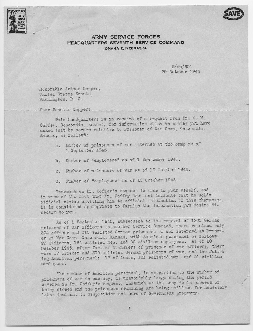 P. X. English to Senator Arthur Capper - 1