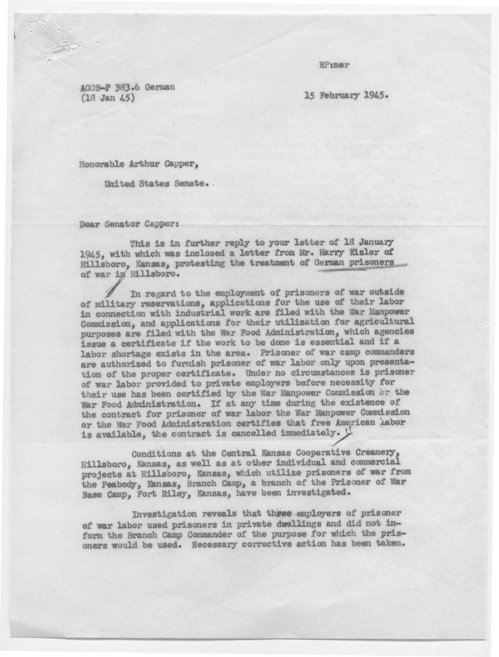 Major General J.A. Ulio to Senator Arthur Capper - 1