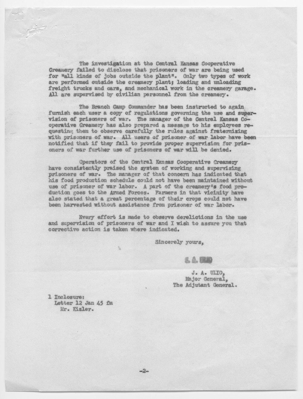 Major General J.A. Ulio to Senator Arthur Capper - 2