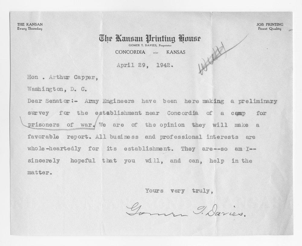 Gomer Davies to Senator Arthur Capper