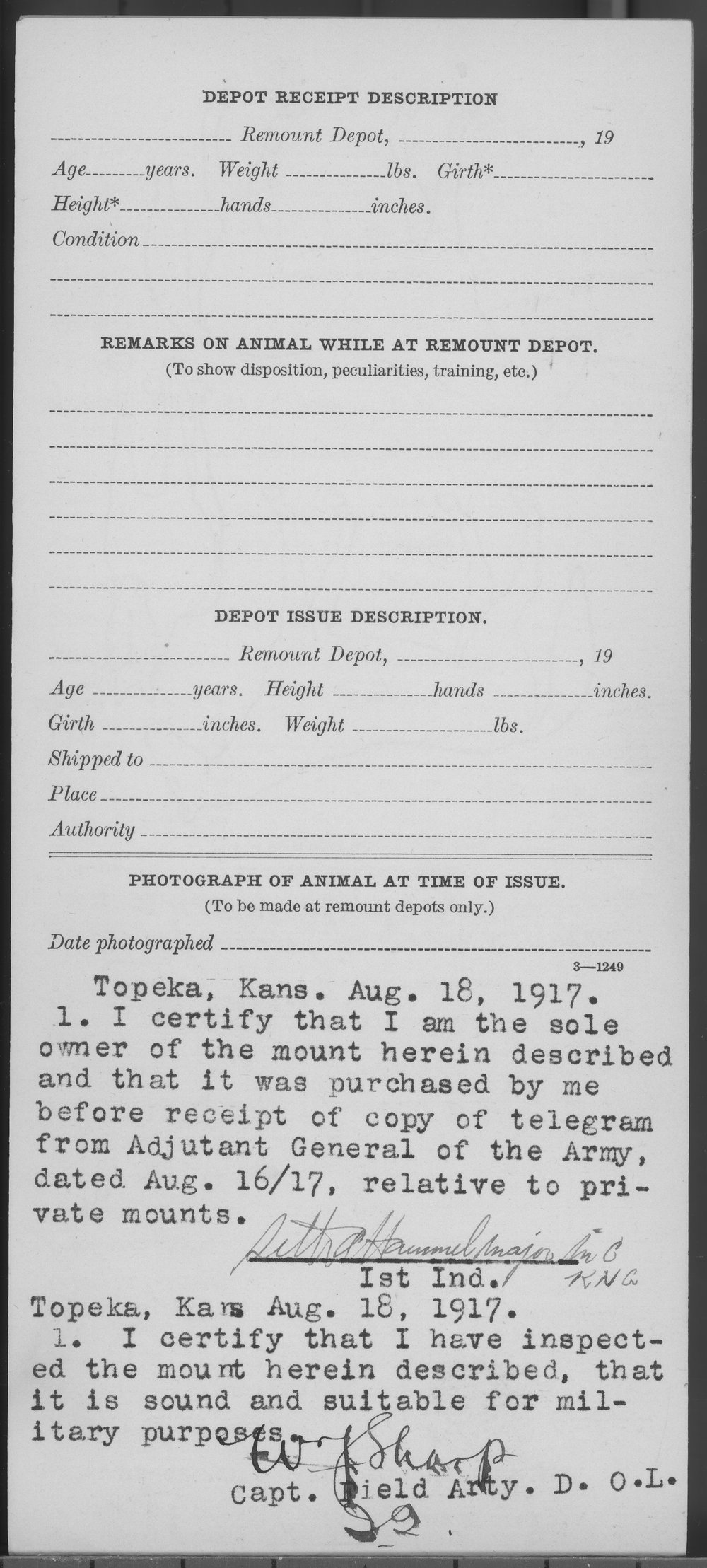 Descriptive card of public animals issued to Dr. Seth A. Hammel - 2