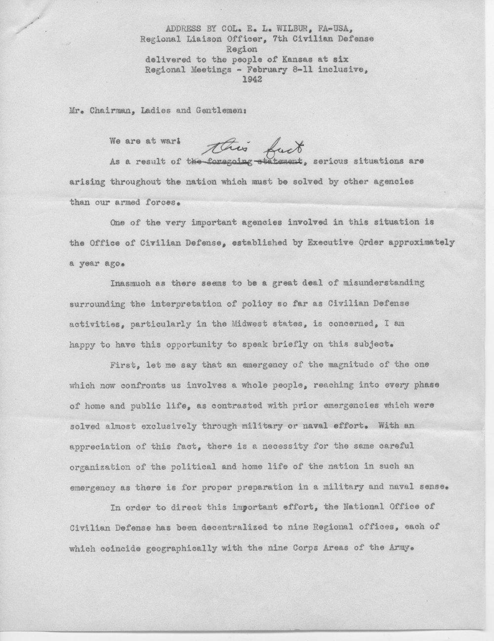 Address by Col. E.L. Wilbur - 1