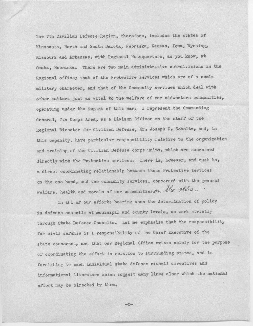 Address by Col. E.L. Wilbur - 2