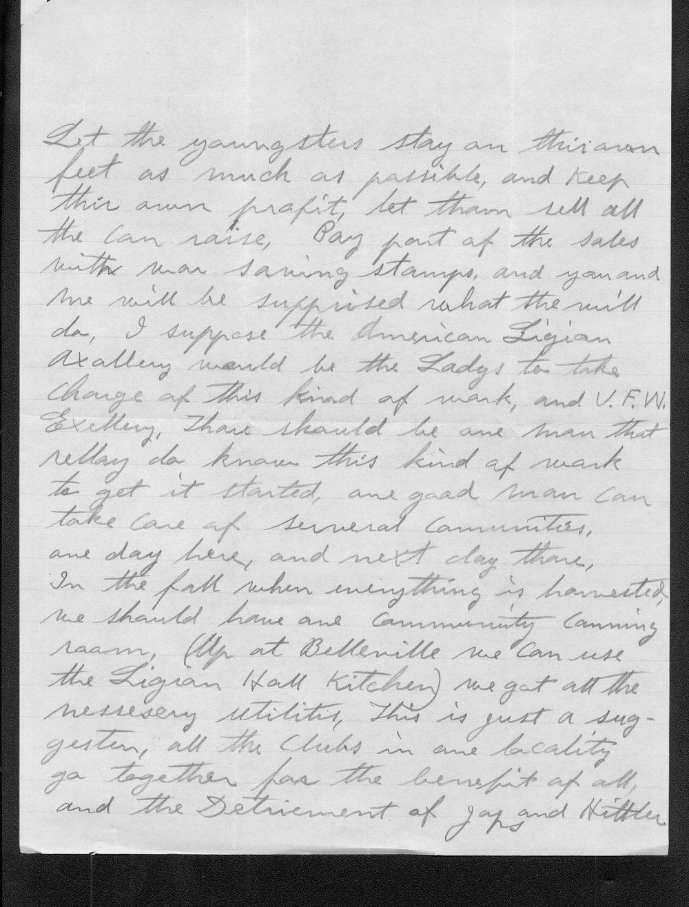 Carl Fredin to Governor Payne Ratner - 3
