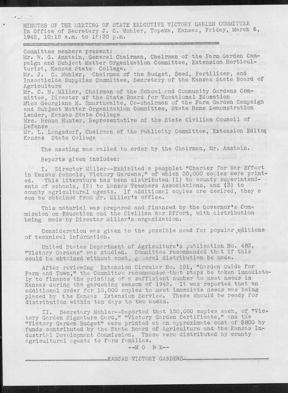 Minutes of the meeting of State Executive Victory Garden Committee - 1