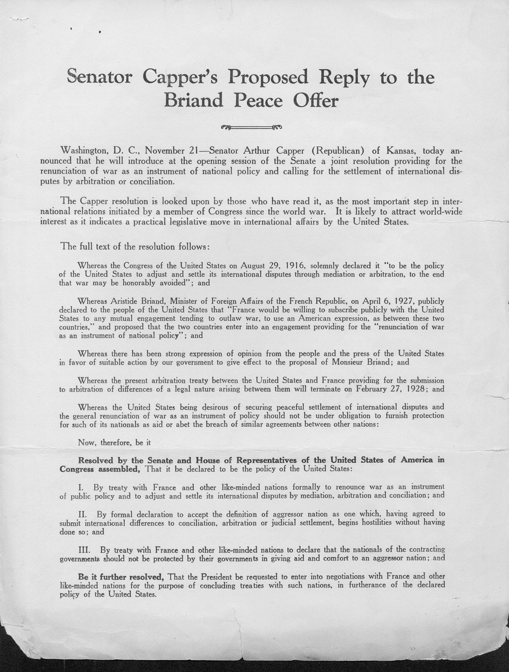 Senator Capper's proposed reply to the Briand Peace Offer - 1