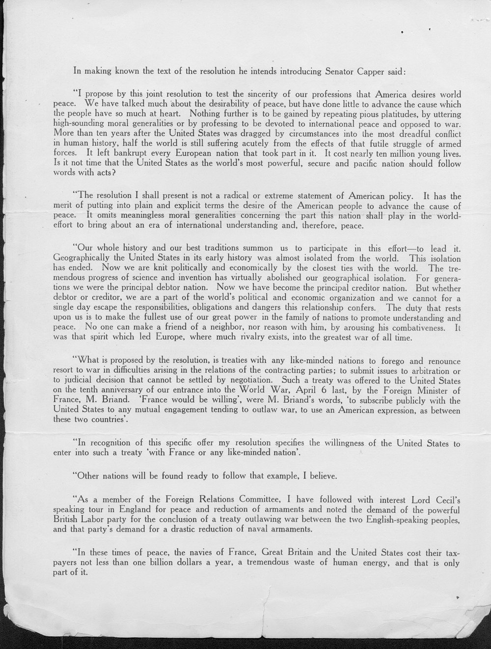 Senator Capper's proposed reply to the Briand Peace Offer - 2