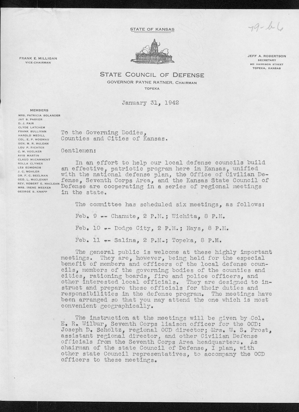 Governor Payne Ratner to the governing bodies of the counties and cities of Kansas - 1