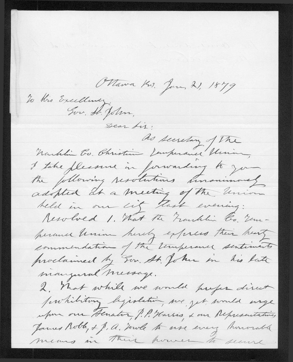 Philetus Foles to Governor John St. John - 1