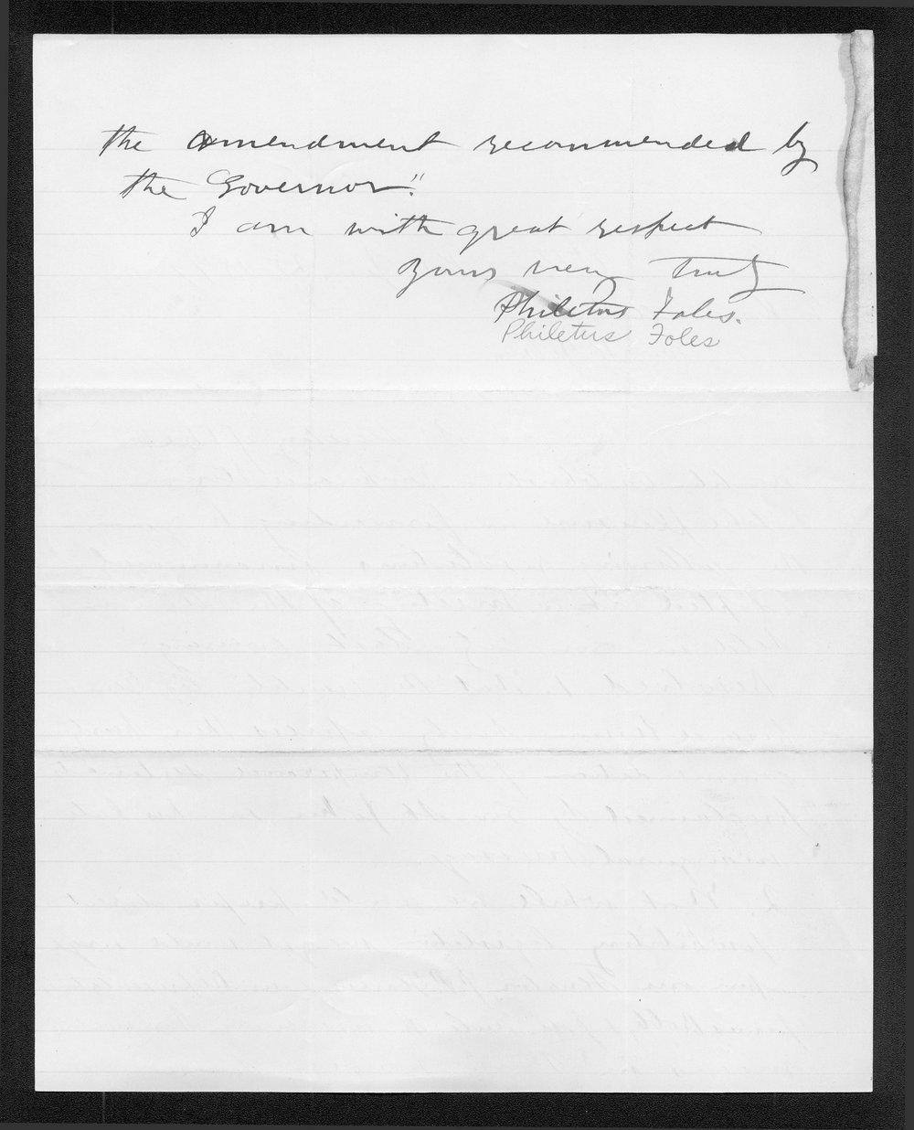 Philetus Foles to Governor John St. John - 2
