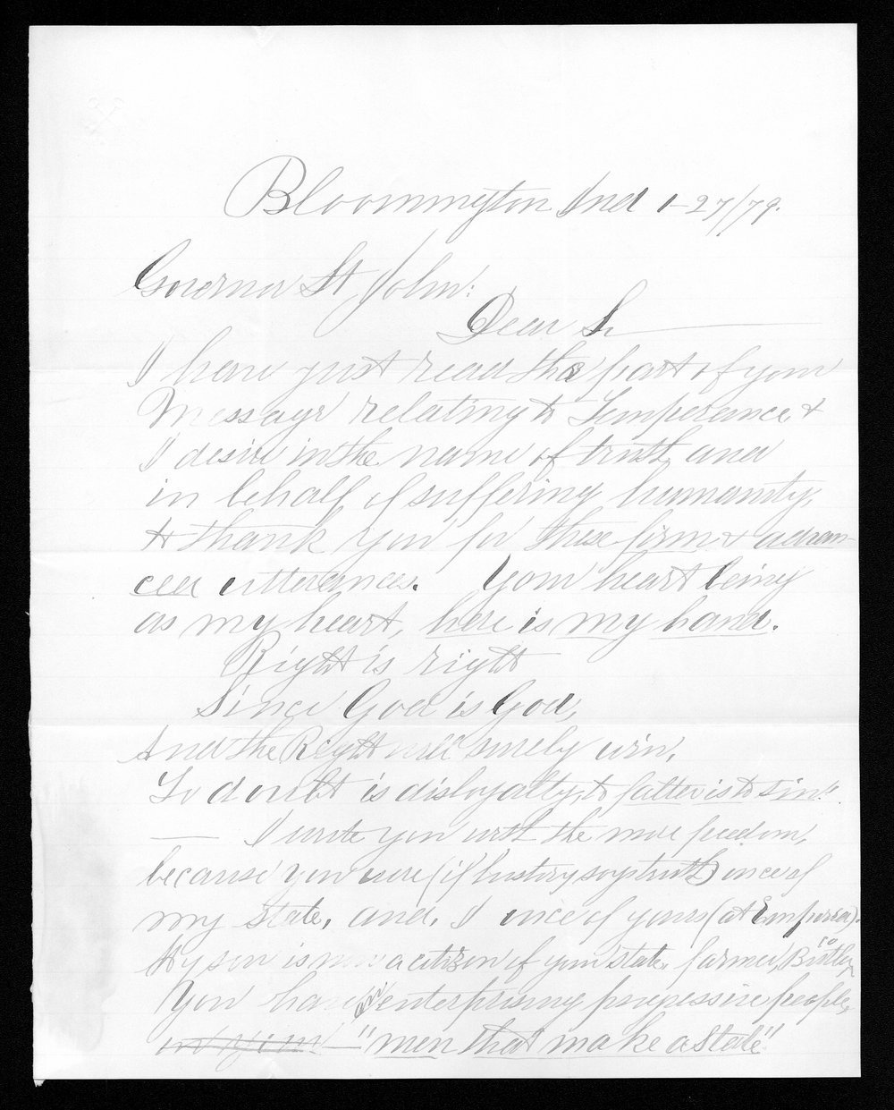George W.T. Cass to Governor John St. John - 1
