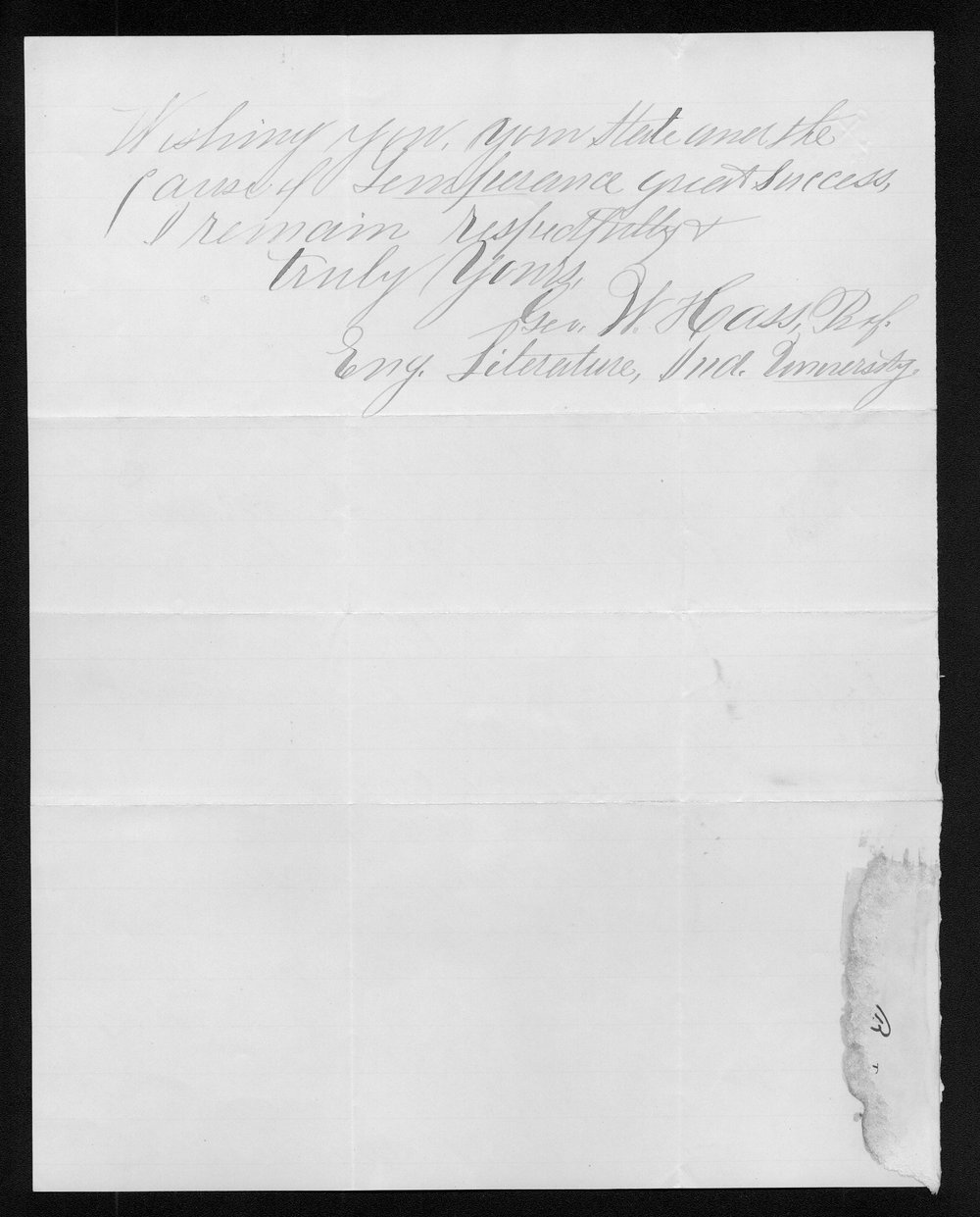 George W.T. Cass to Governor John St. John - 2