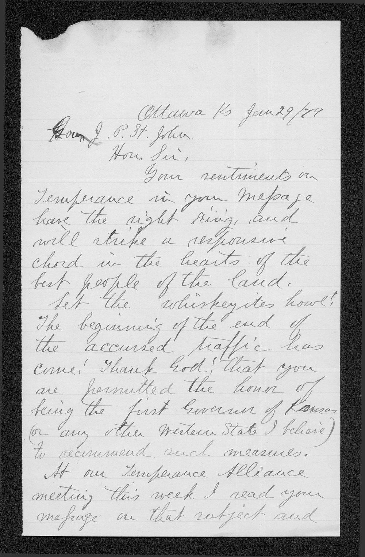 Governor John St. John prohibition received correspondence - 7