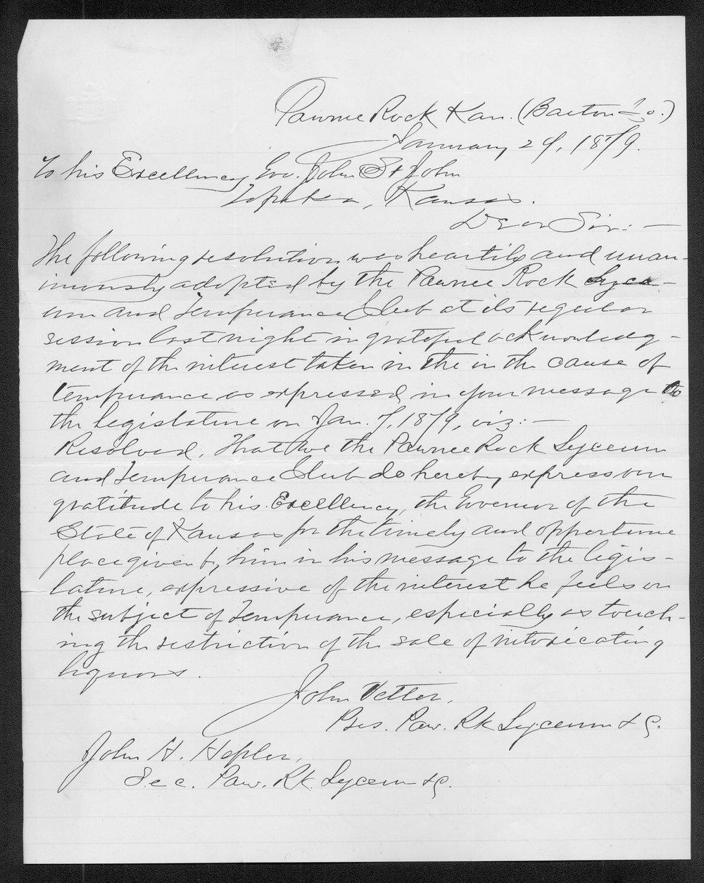 Governor John St. John prohibition received correspondence - 9