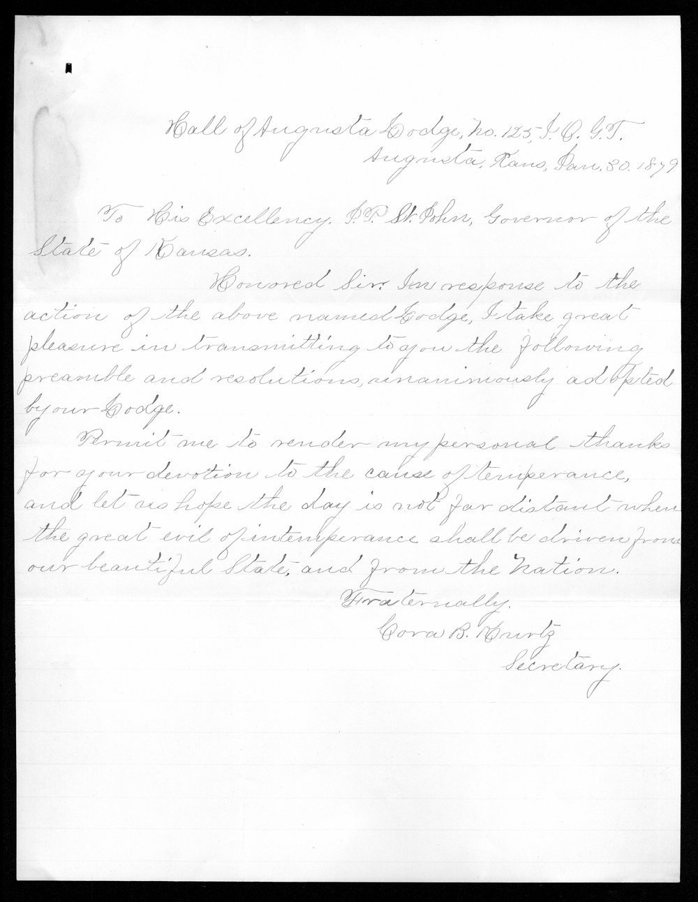 Governor John St. John prohibition received correspondence - 11