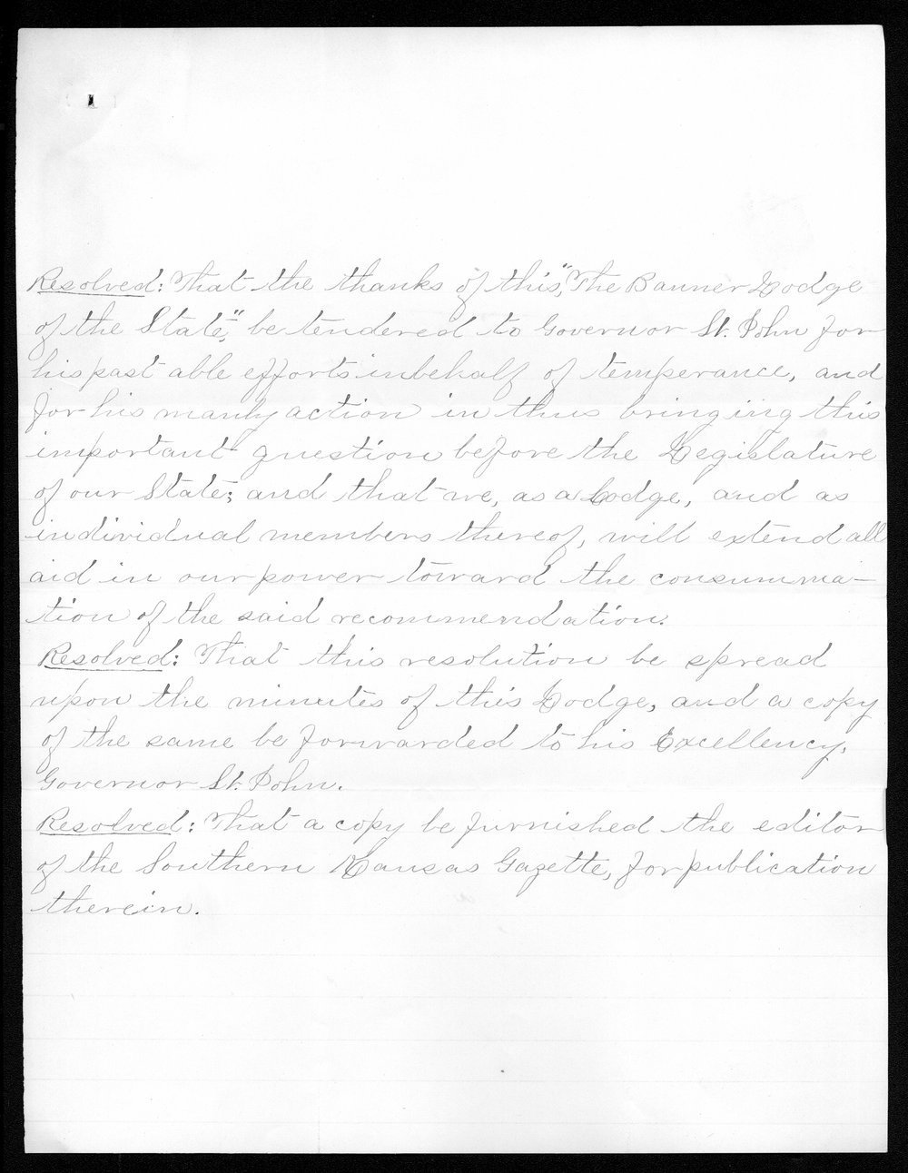 Governor John St. John prohibition received correspondence - 12