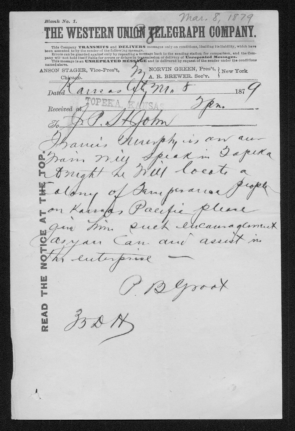 P.B. Groat to Governor John St. John