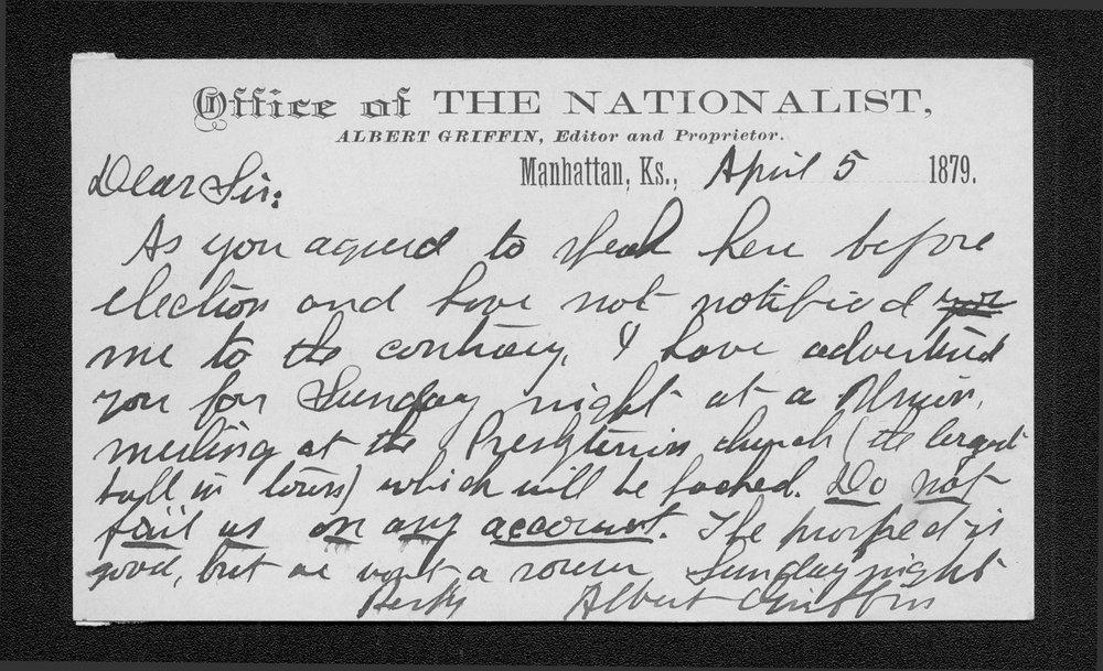 Albert Griffin to Governor John St. John