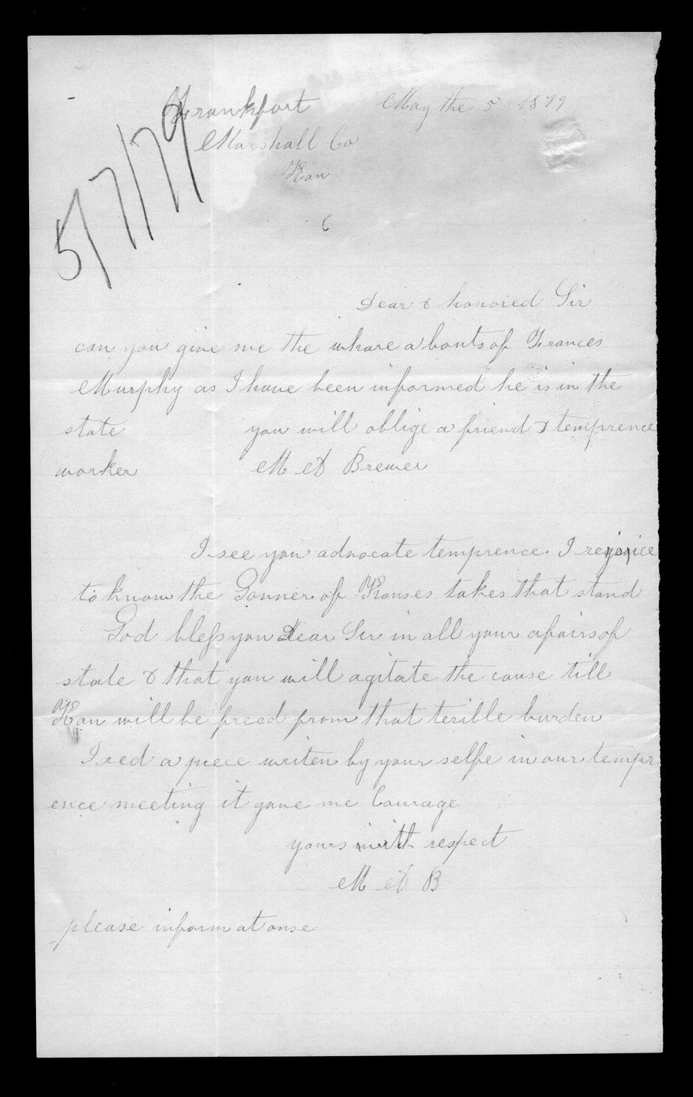 M.A. Brewer to Governor John St. John