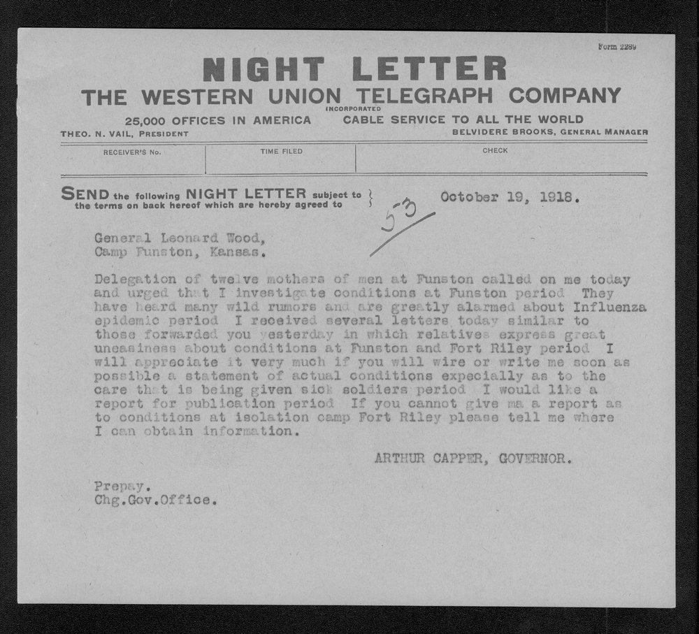 Governor Arthur Capper to General Leonard Wood