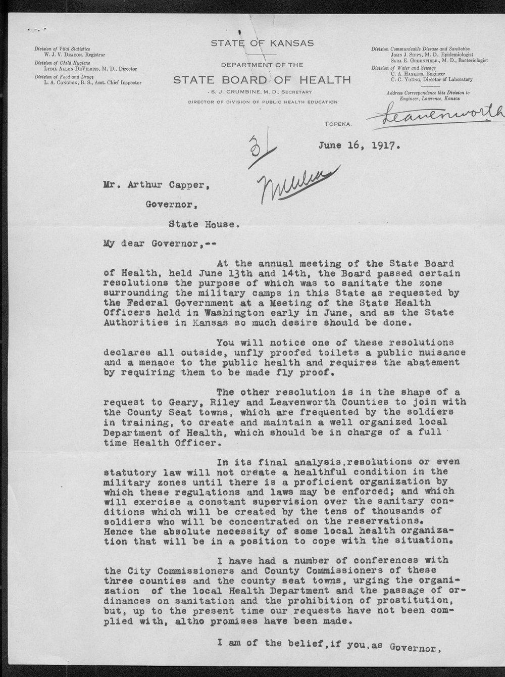 Samuel Crumbine to Governor Arthur Capper - 1