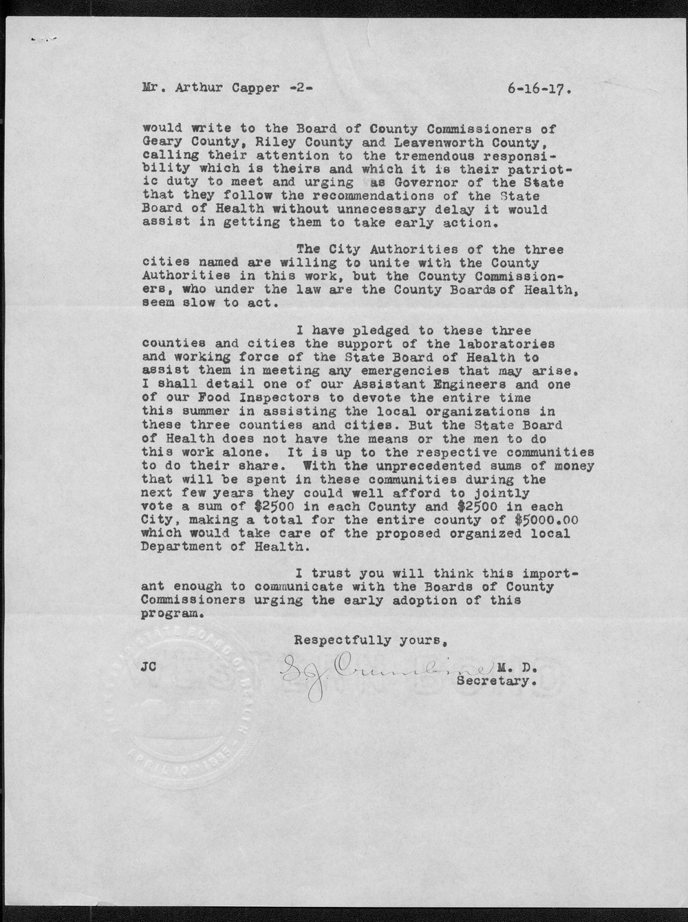Samuel Crumbine to Governor Arthur Capper - 2