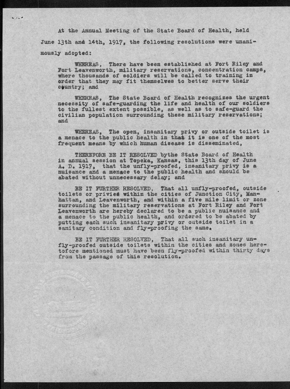 Samuel Crumbine to Governor Arthur Capper - 3
