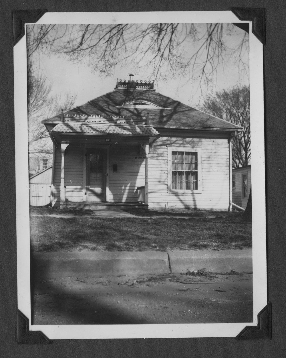 Melvin Brose photograph album - Annie Brose's house located at Broadway and Oak Streets in Valley Falls, Kansas.