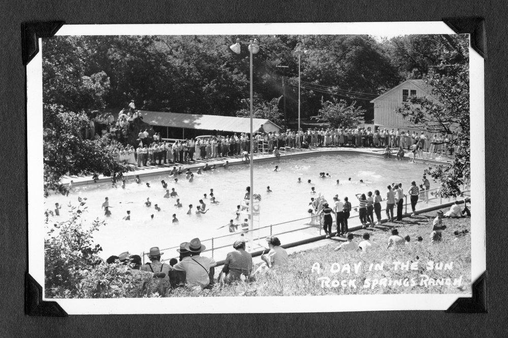 Melvin Brose photograph album - Swimming pool at Rock Springs 4-H Ranch.