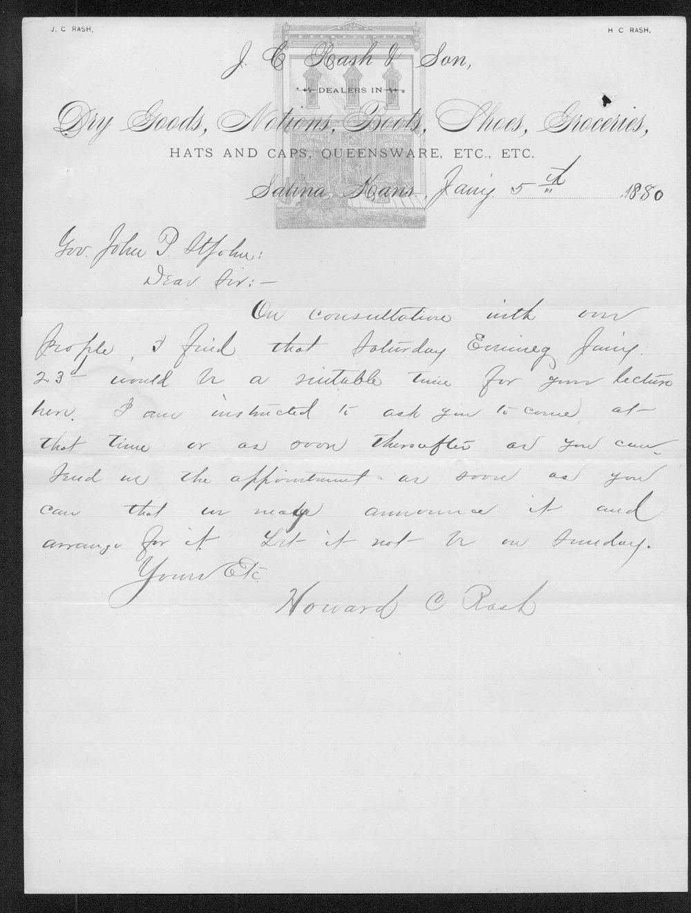 Howard C. Rash to Governor John St. John