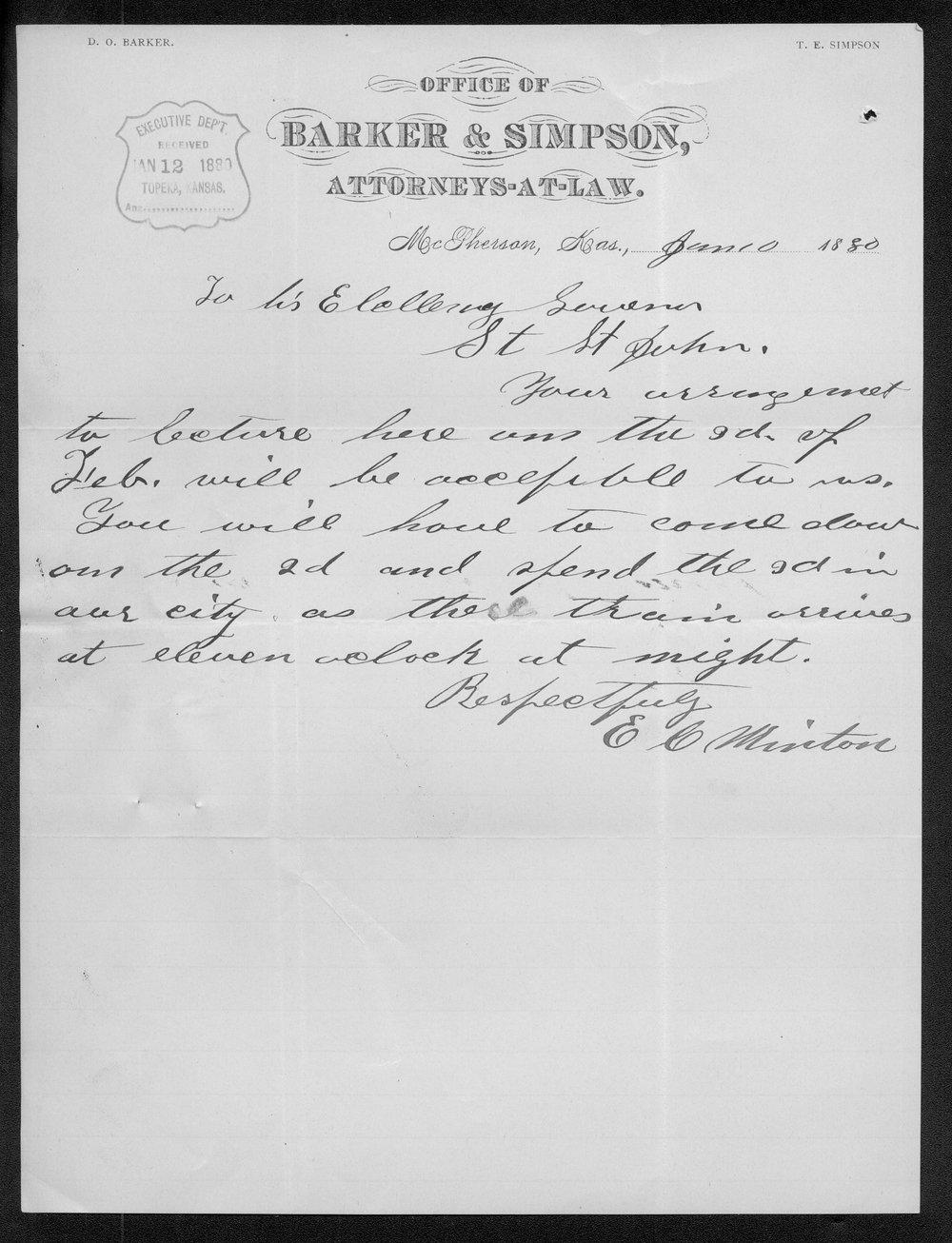 E. H. Minton to Governor John St. John