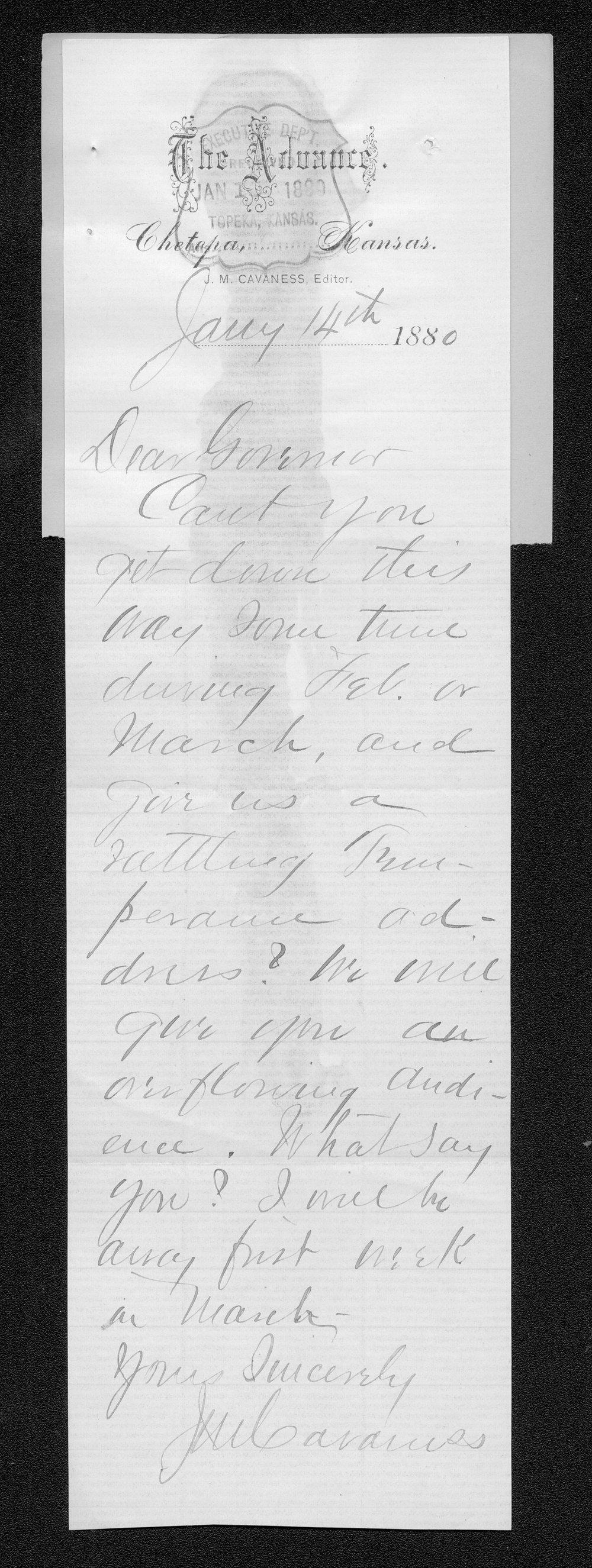 J. M. Cavaness to Governor John St. John