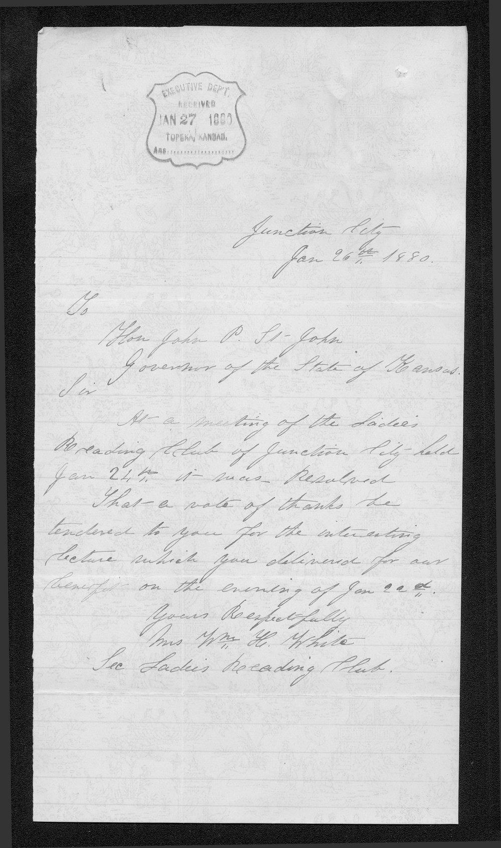 Mrs. W.H. White to Governor John St. John