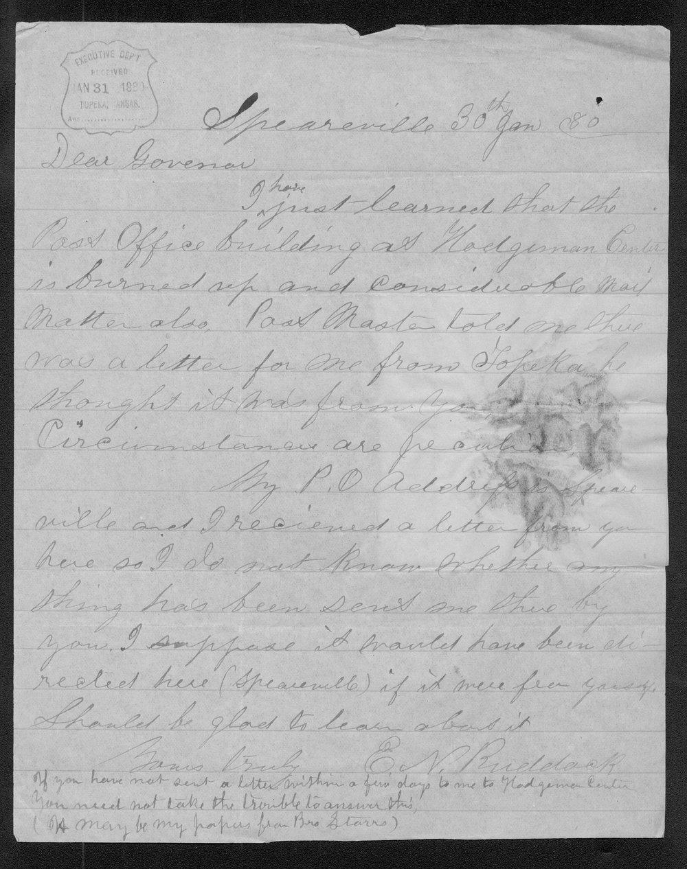 E.N. Ruddock to Governor John St. John