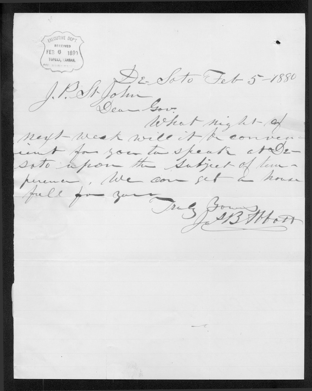 J.B. Abbott to Governor John St. John
