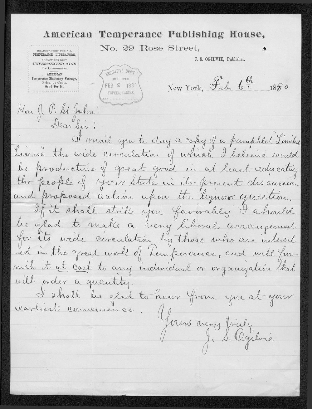 J.S. Ogilvie to Governor John St. John
