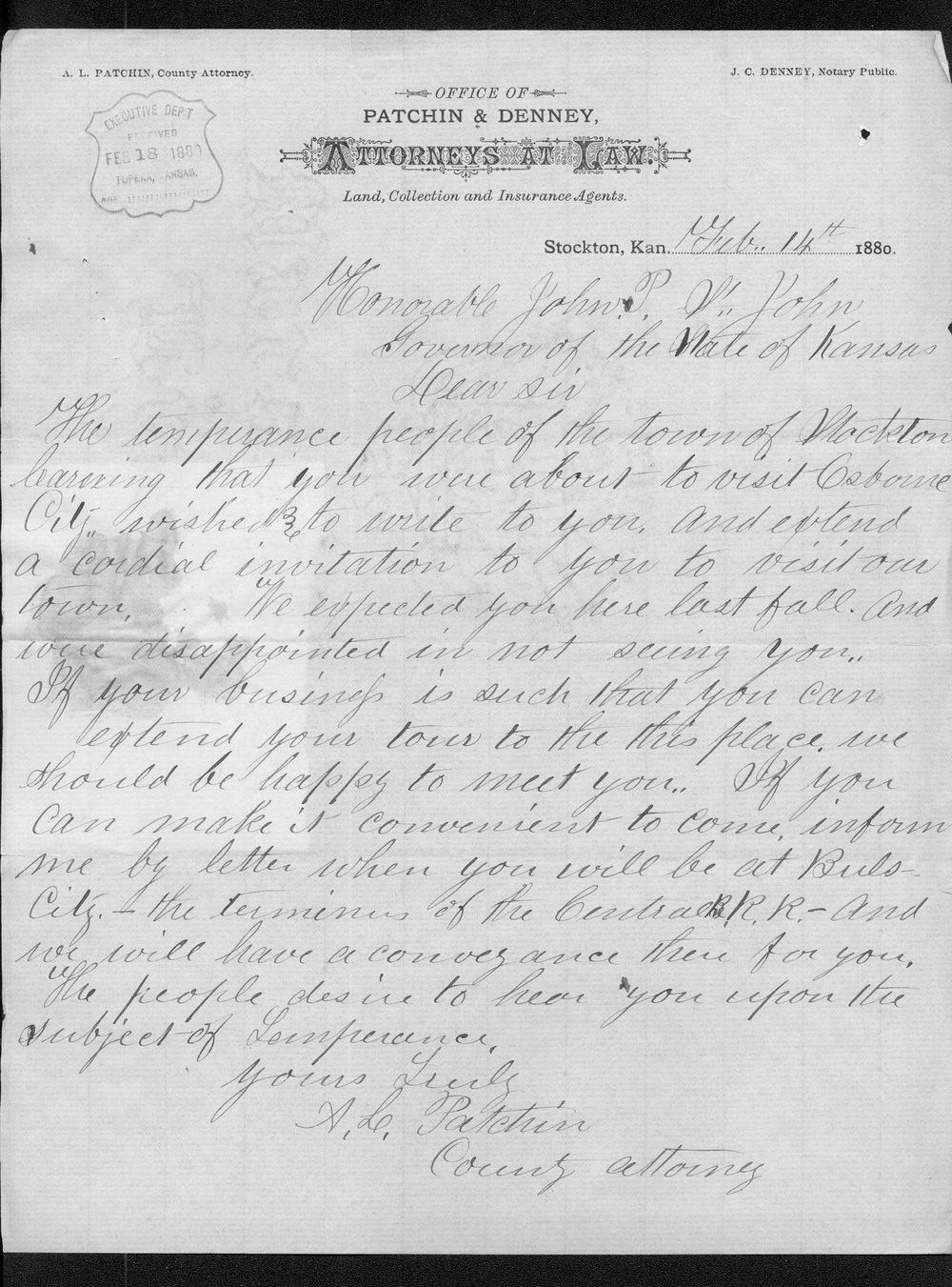 A. L. Patchin to Governor John St. John