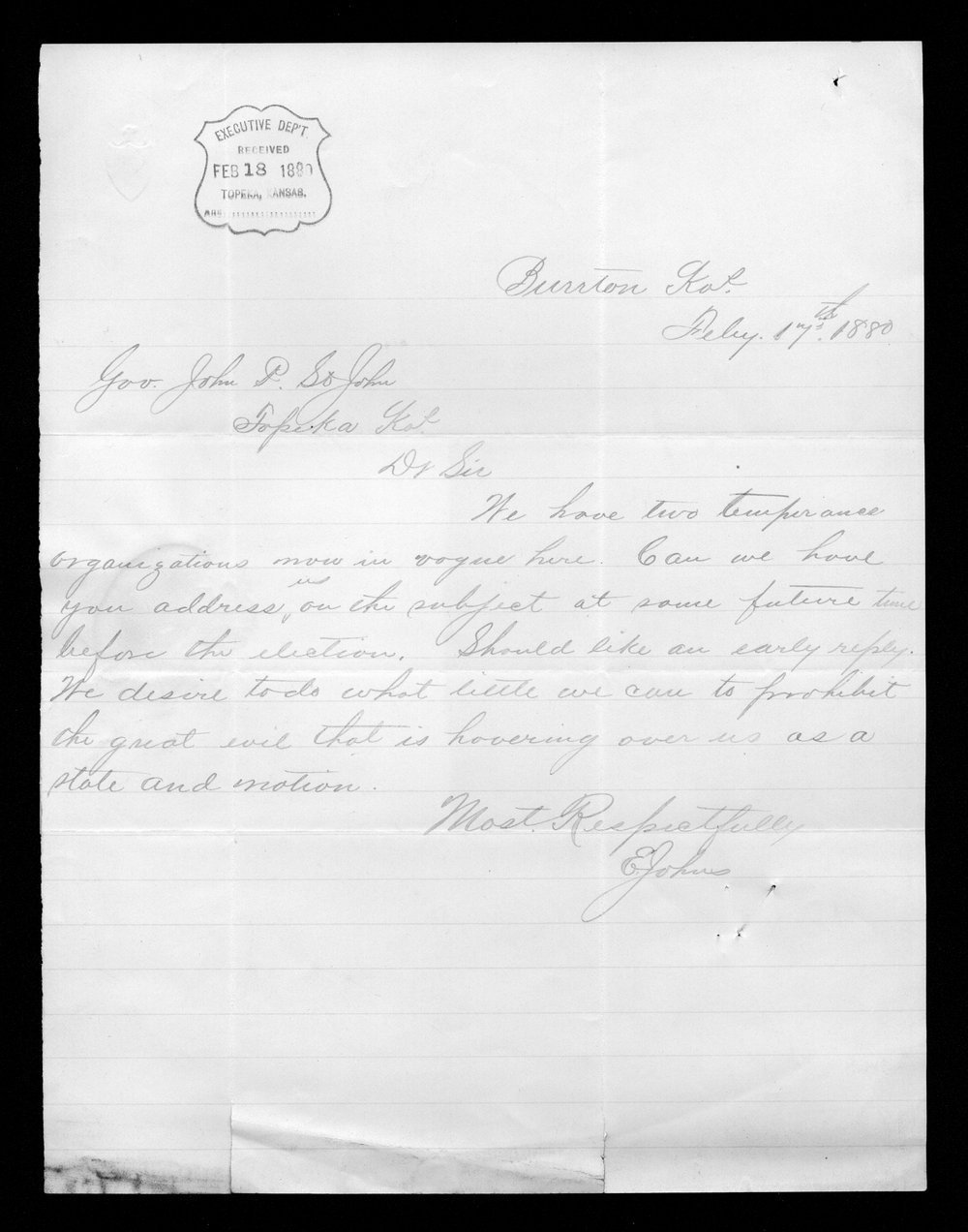 E. Johns to Governor John St. John